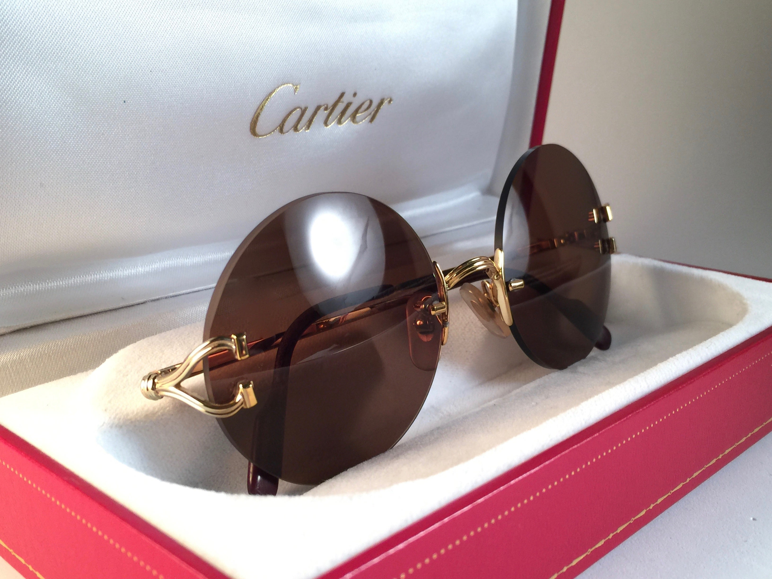 86da638b8d2 New Vintage Cartier Madison Classic Special Gold 50 Mm Sunglasses France at  1stdibs