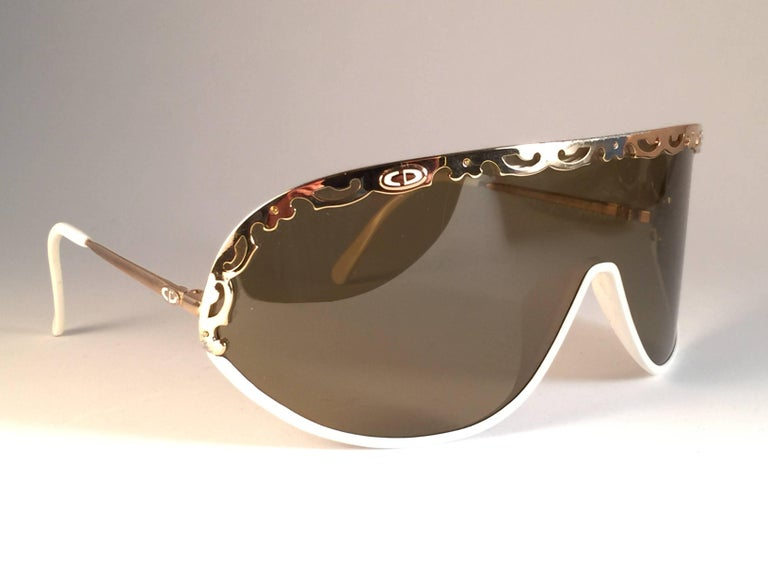 Brown New Vintage Christian Dior 2501 Wrap Around White Gold 1980 Sunglasses For Sale
