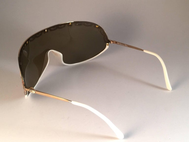 Women's New Vintage Christian Dior 2501 Wrap Around White Gold 1980 Sunglasses For Sale