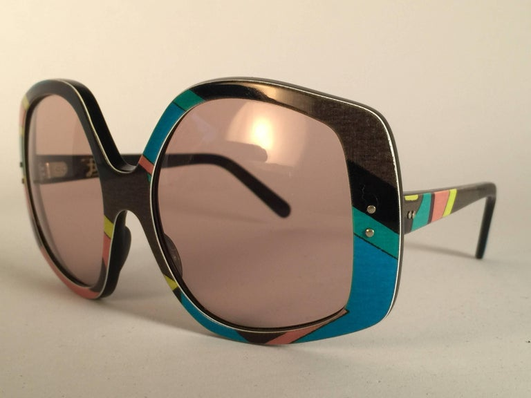 Brown New Vintage Emilio Pucci Multicolour Oversized Collector Item Sunglasses France For Sale