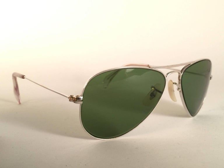 Brown New Vintage Ray Ban Aviator 12K Gold Grey Lens Kids Edition B&L Sunglasses