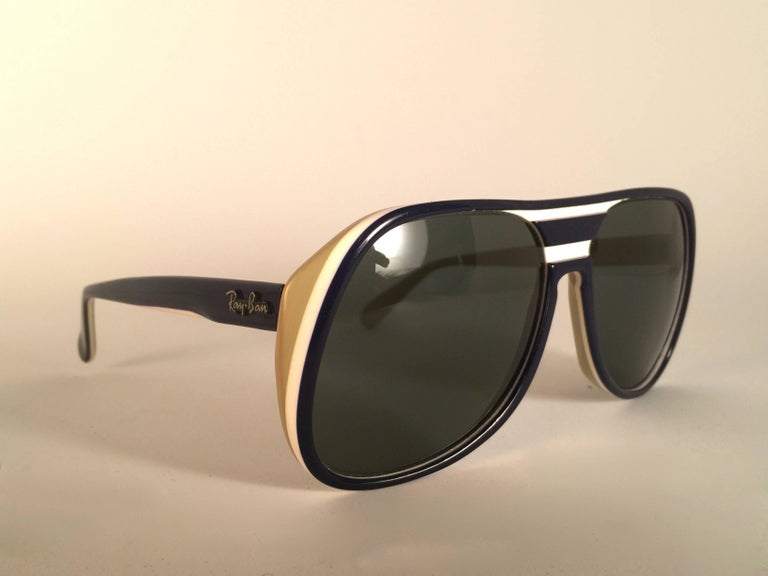 Mint Ray Ban Timberline in  combination.   This pair may have minor sign of wear due to nearly 40 years of storage.   Designed and Produced in USA.