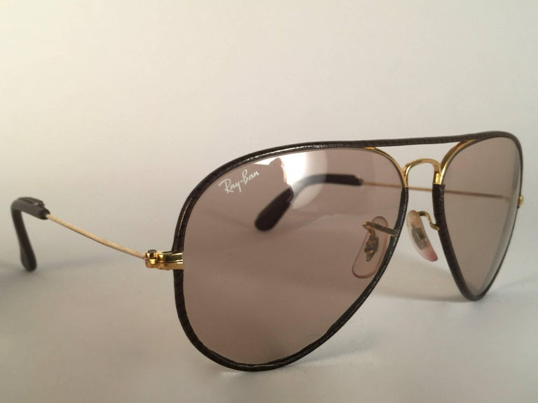 c2247aa06 Brown New Vintage Ray Ban Leathers Aviator Tobacco Leather 58' B&L  Sunglasses ...