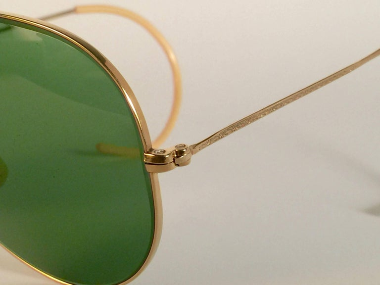Women's or Men's New Ray Ban Shooter 1950's Rare Classic 12K Gold Filigree USA Sunglasses For Sale
