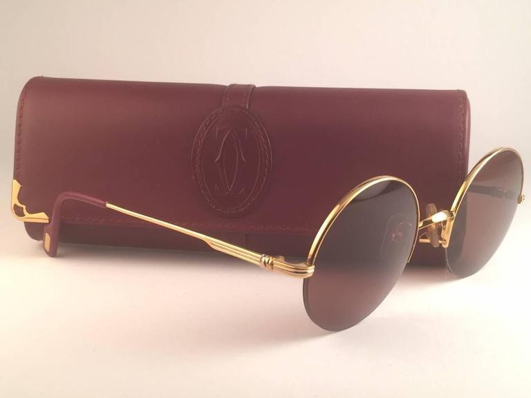 d74ff4b280d5 ... Round Half Frame Gold 47mm Brown Lens France Sunglasses For Sale. New  1990 Cartier Mayfair half frame sunglasses with brown (uv protection) lenses .