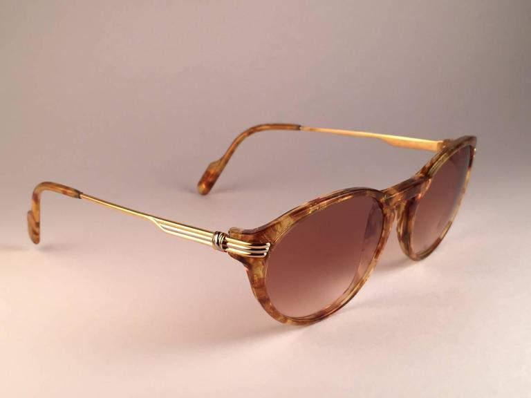 Cartier Aurore Jaspe Gold Sunglasses Brown France 18k Gold 1991 For Sale 1