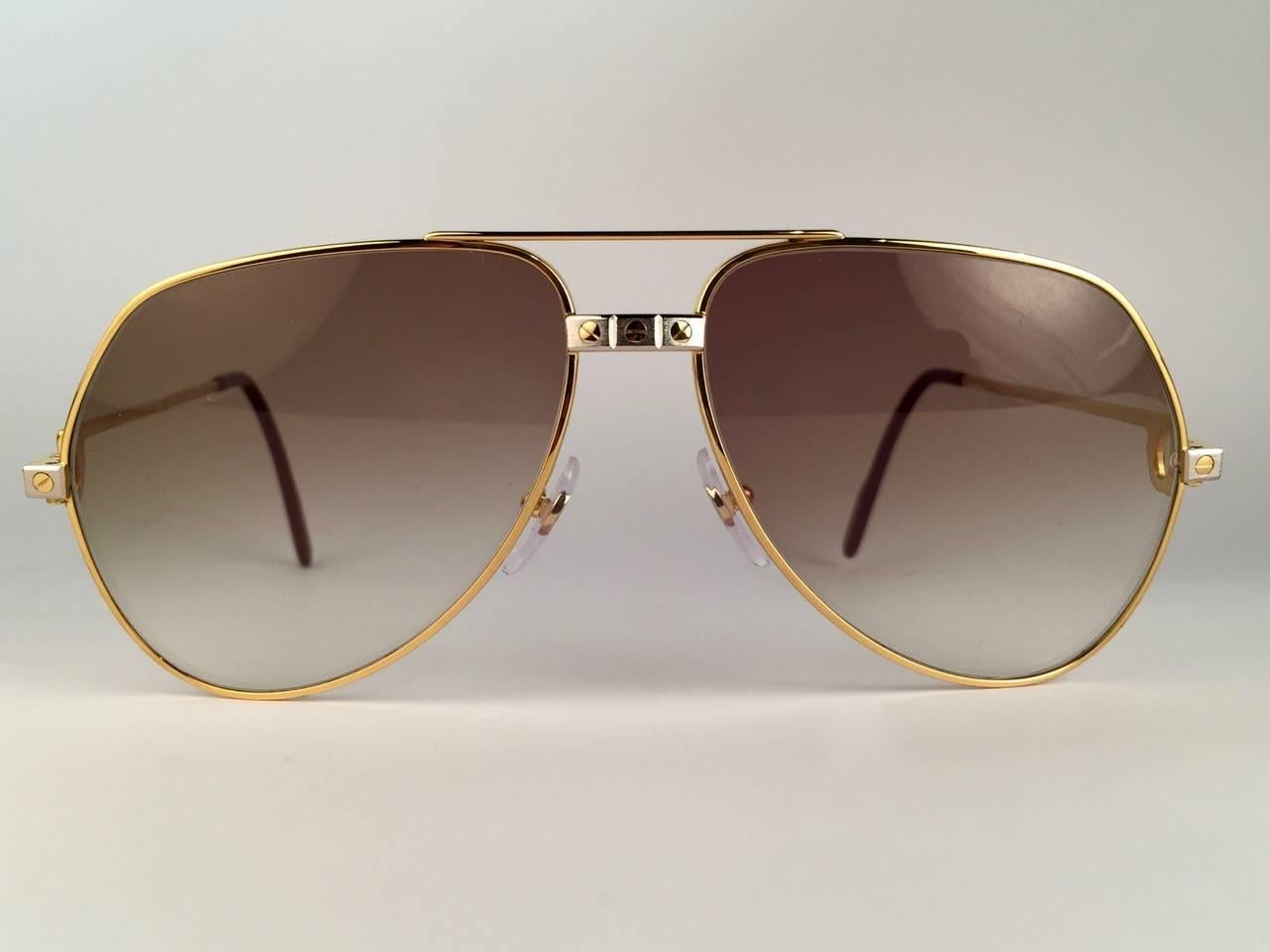 c06108c743 New Cartier Santos Screws 1983 59mm 18K Heavy Plated Sunglasses France For  Sale at 1stdibs