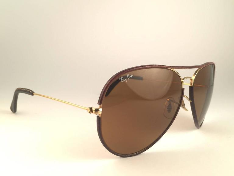 fb5b32340 New Vintage Ray Ban Leathers Aviator Tobacco Brown 62Mm B&L Sunglasses For  Sale 1