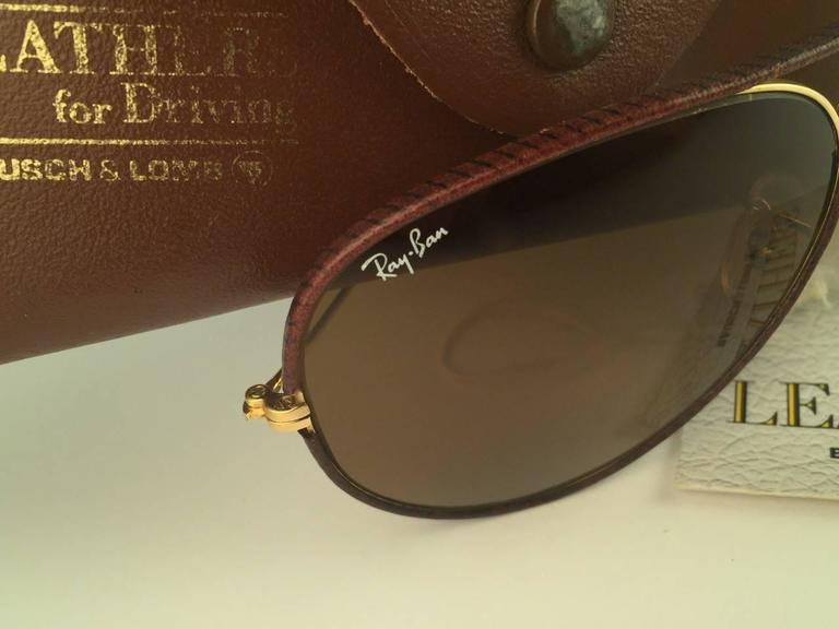 8cc082fcb New Vintage Ray Ban Leathers Aviator 62mm in tobacco brown leather with  gold metal combination frame