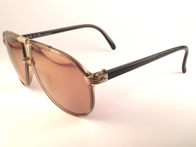 Brown New Vintage Christian Dior Monsieur 2300 20 Optyl Gold Mirror 1970 Sunglasses For Sale