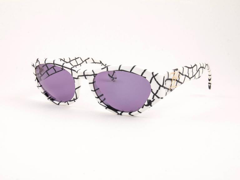 Purple New Vintage Karl Lagerfeld 3601 White & Black 1990 France Sunglasses For Sale