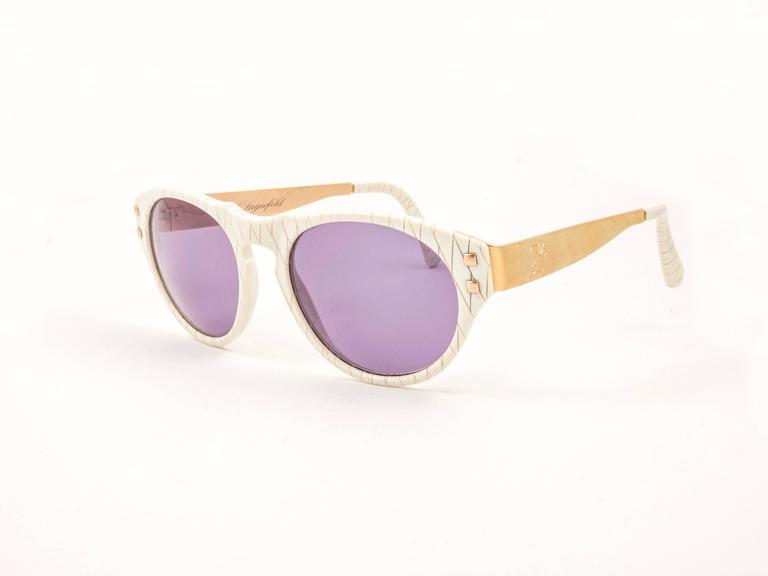 Gray New Vintage Karl Lagerfeld 3601 White & Gold 1990's Sunglasses For Sale