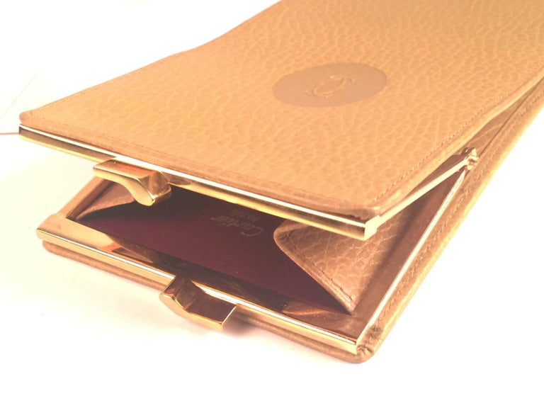 New Vintage Cartier Etui Sunglasses Case Gold & Genuine Leather  In New Condition For Sale In Amsterdam, Noord Holland