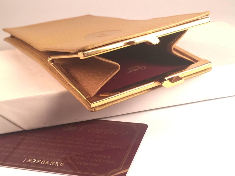 Women's or Men's New Vintage Cartier Etui Sunglasses Case Gold & Genuine Leather  For Sale