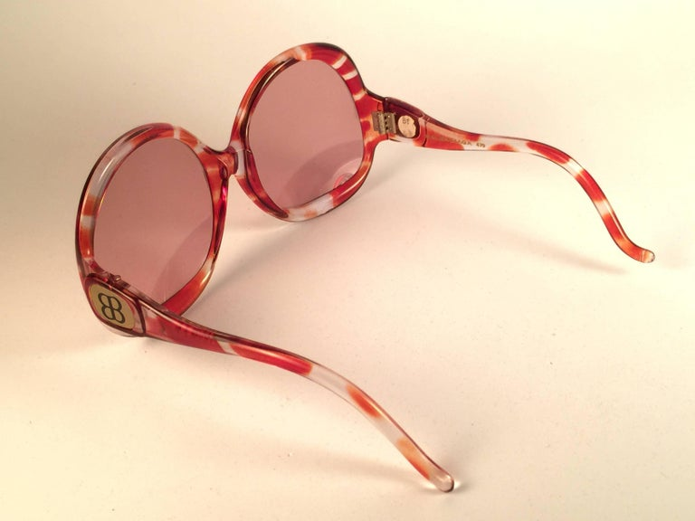 Orange New Vintage Balenciaga Clear & Amber Oversized Sunglasses 1970's Sunglasses For Sale