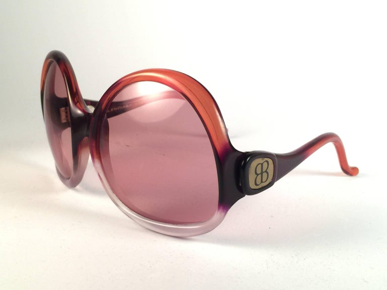 New Vintage Balenciaga Clear & Orange Ombre Sunglasses 1970's  2