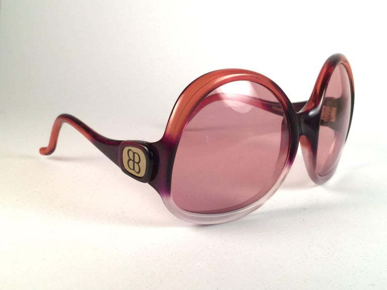 New Vintage Balenciaga Clear & Orange Ombre Sunglasses 1970's  3