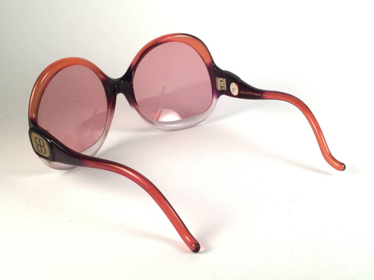 New Vintage Balenciaga Clear & Orange Ombre Sunglasses 1970's  4