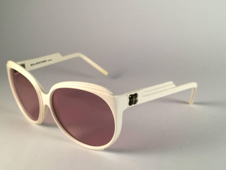 Brown New Vintage Balenciaga White Oversized 1970's Sunglasses For Sale