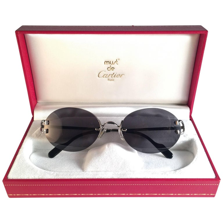 3eb89bbce155 New Vintage Cartier Scala 52mm Platine Rimless Grey Lens Case France  Sunglasses For Sale