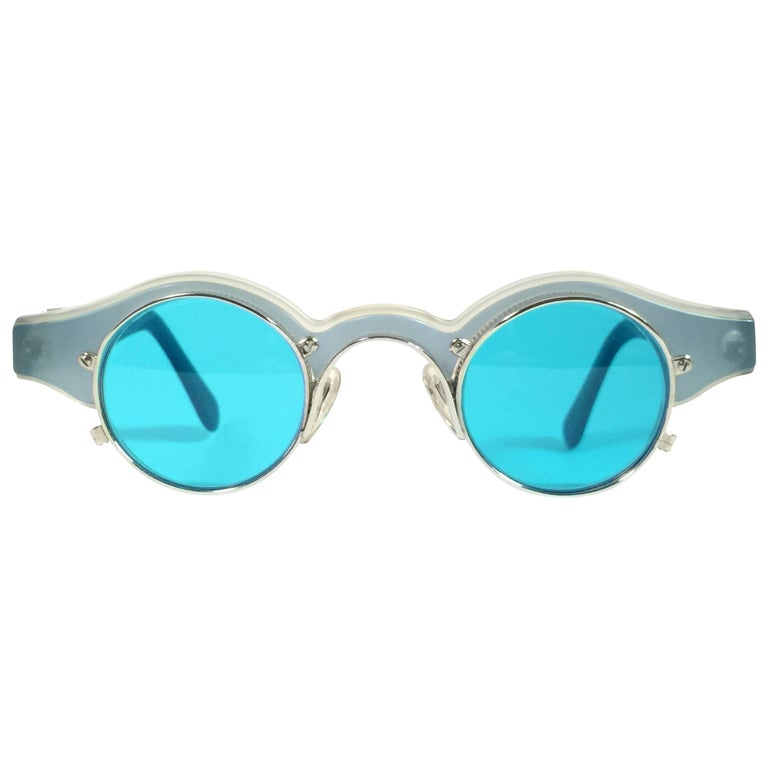 New Vintage Matsuda 10605 Turquoise and Silver 1990s Made in Japan Sunglasses