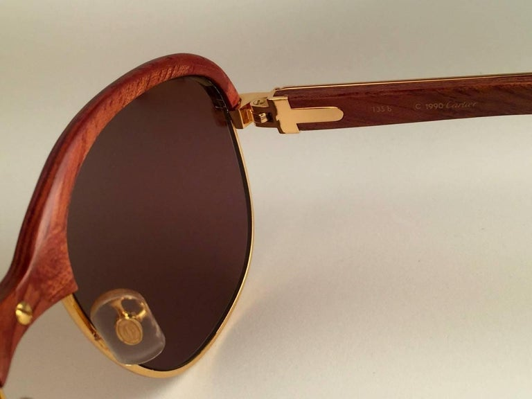 New Cartier Wood Malmaison Precious Wood Palisander and Gold 56mm Sunglasses  For Sale 1