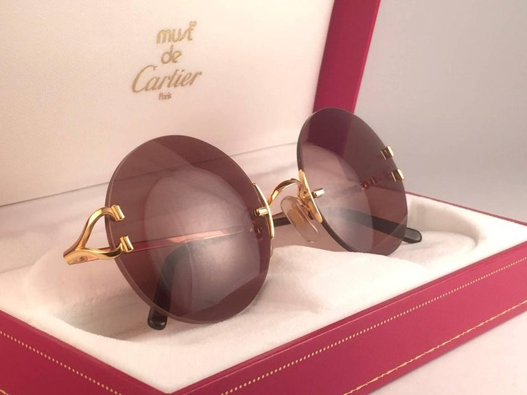 7e2790e189c New Cartier Madison Round Rimless Gold 50mm Brown Lens France Sunglasses In  New Condition For Sale