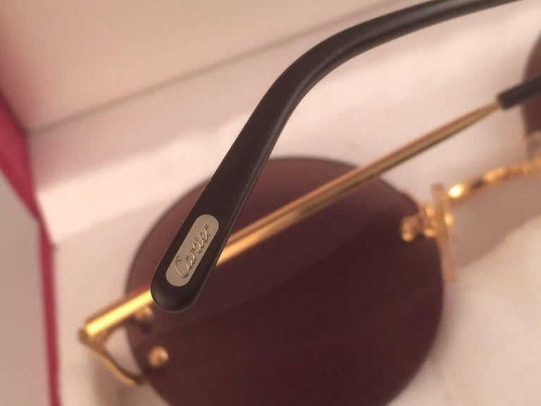 19ed0e3d190 New Cartier Madison Round Rimless Gold 50mm Brown Lens France Sunglasses  For Sale 2
