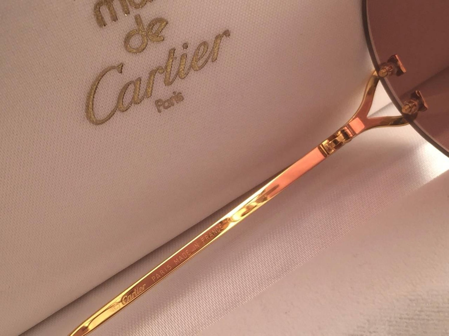 eea3dce3d90 New Cartier Madison Round Rimless Gold 50mm Brown Lens France Sunglasses at  1stdibs