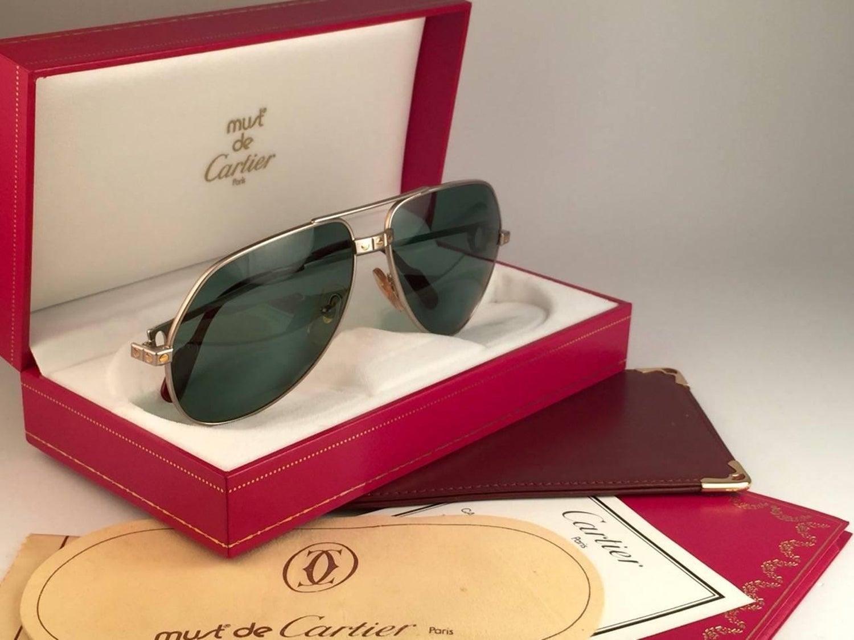 ca971d9afdf2 New Cartier Santos Screws Titanium 59Mm Grey Lens Heavy Plated Sunglasses  France at 1stdibs
