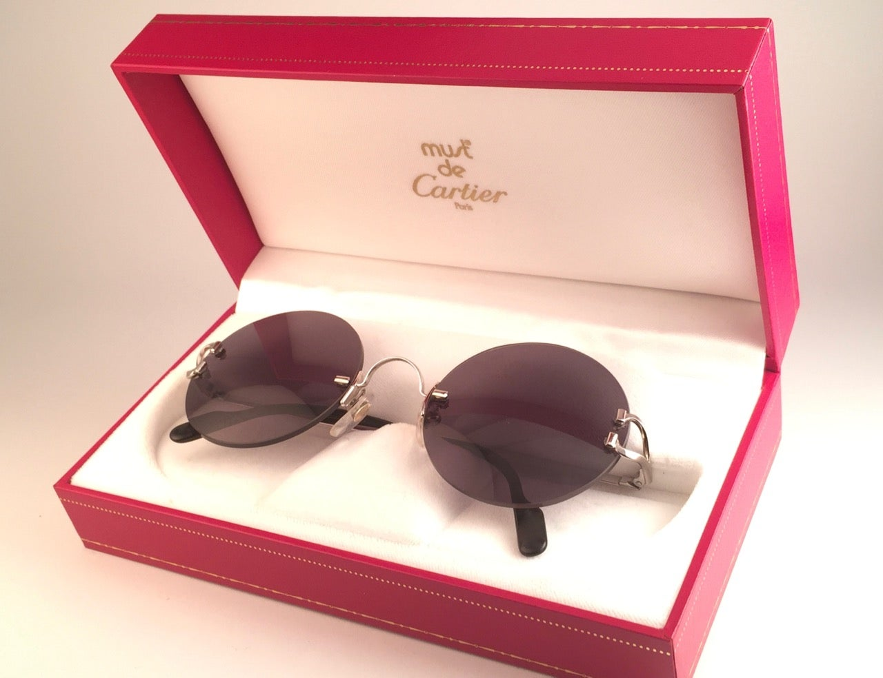 297c948ad77 New Cartier Madison Round Rimless Platine 50mm Grey Lenses France Sunglasses  at 1stdibs