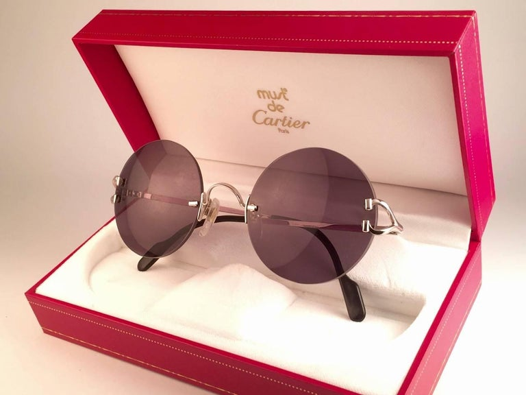 New Cartier Madison Round Rimless Platine 50mm Grey Lenses France Sunglasses In New Condition For Sale In Amsterdam, Noord Holland