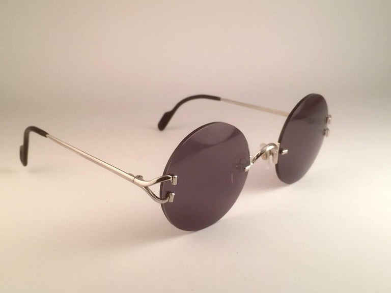 Women's or Men's New Cartier Madison Round Rimless Platine 50mm Grey Lenses France Sunglasses For Sale