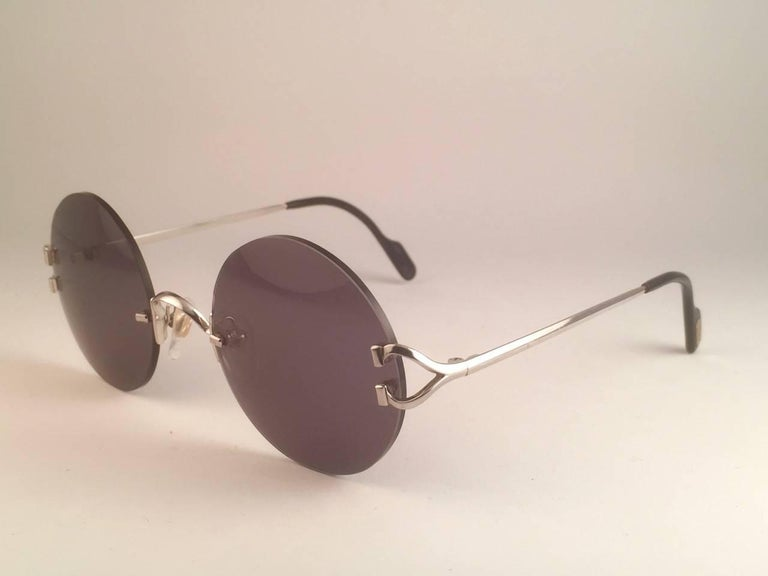 New Cartier Madison Round Rimless Platine 50mm Grey Lenses France Sunglasses For Sale 1