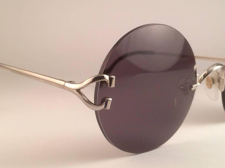 New Cartier Madison Round Rimless Platine 50mm Grey Lenses France Sunglasses For Sale 2