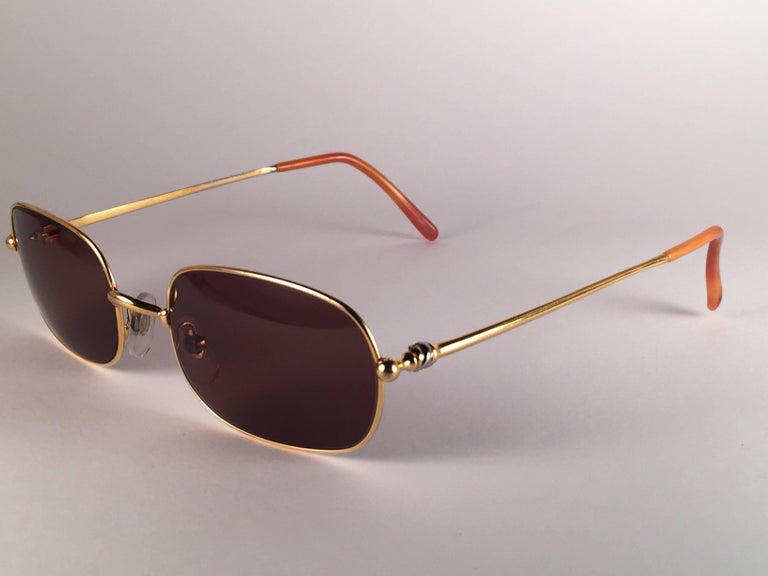 3bda84f0716 New Vintage Cartier Deimios Gold Plated Solid Brown Lens France 1990  Sunglasses For Sale 2