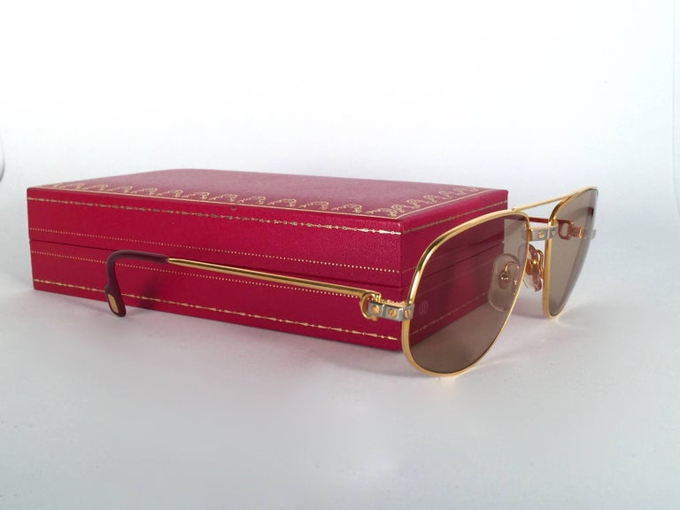 76d72469b720 New Vintage Cartier Romance Santos 58MM France 18k Gold Plated Sunglasses  In New Condition For Sale