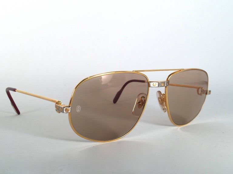 0cae07b4d9db New Vintage Cartier Romance Santos 58MM France 18k Gold Plated Sunglasses  For Sale 1