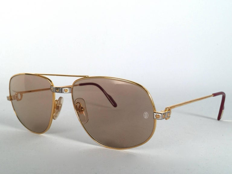 172008886d26 New Vintage Cartier Romance Santos 58MM France 18k Gold Plated Sunglasses  For Sale 2