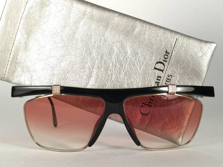 c2c440e3557 New Vintage Christian Dior 2555 Black   Gold Frame Optyl Sunglasses Germany  In New Condition For