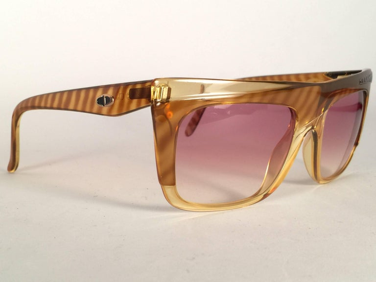 Beige New Vintage Christian Dior 2400 Mask Oversized Optyl Sunglasses 1980's For Sale
