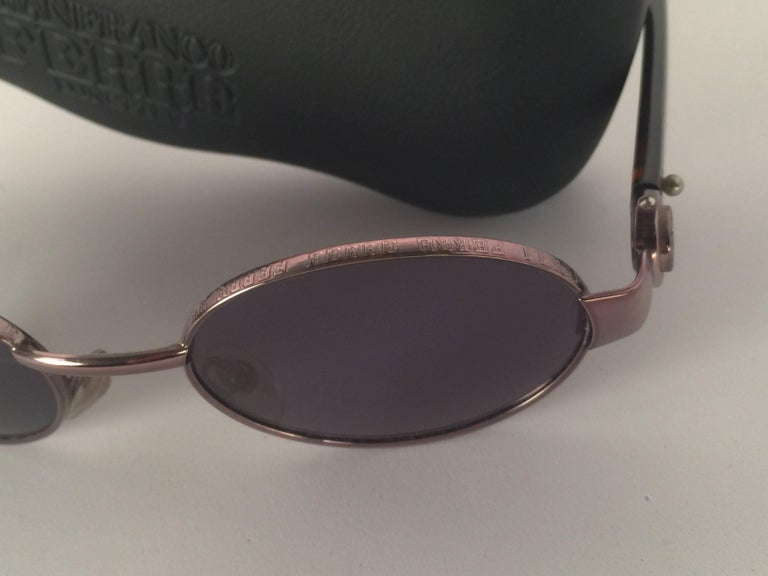 0f42693a68 Gray New Vintage Gianfranco Ferré Oval Copper 1990 s Made in Italy  Sunglasses For Sale