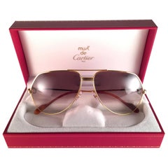 Cartier Vendome Gold Brown Lens Heavy Plated Sunglasses France