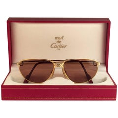 Cartier Panthere Windsor 55mm Cat Eye Sunglasses Heavy Plated France