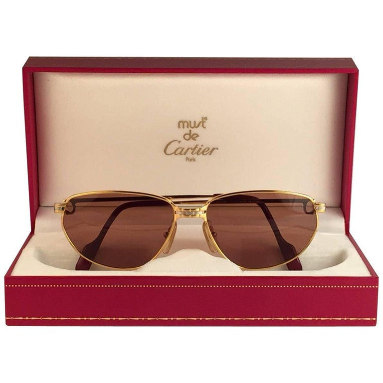 054737f1f9bf8 Cartier Panthere Windsor 55mm Cat Eye Sunglasses Heavy Plated France For  Sale