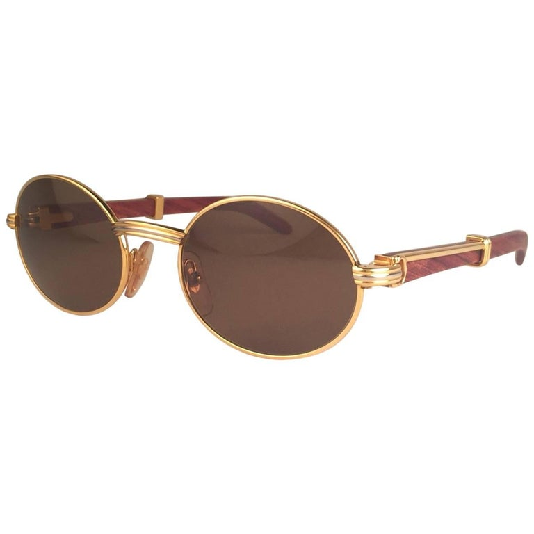 Cartier Giverny New Gold and Wood 49/20 Full Set Brown Lens France Sunglasses