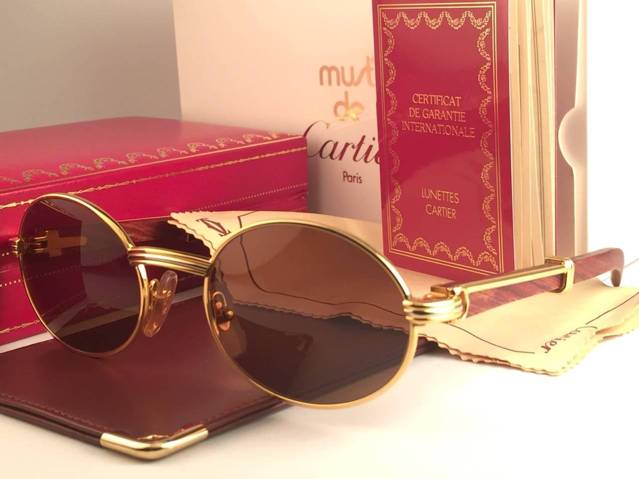 aaef7aa32fe Cartier Giverny New Gold and Wood 49 20 Full Set Brown Lens France  Sunglasses For Sale at 1stdibs