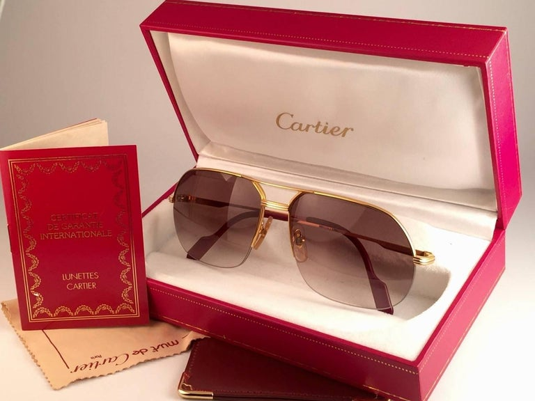 New Cartier Tank Orsay Half Frame 58mm 18K Gold Plated Sunglasses France  In New Condition For Sale In Amsterdam, Noord Holland