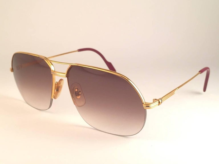 New Cartier Tank Orsay Half Frame 58mm 18K Gold Plated Sunglasses France  For Sale 1