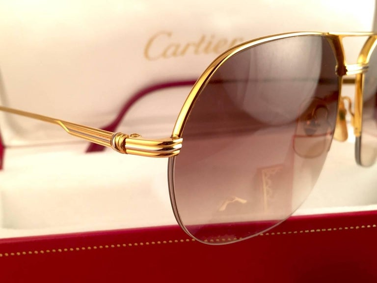 New Cartier Tank Orsay Half Frame 58mm 18K Gold Plated Sunglasses France  For Sale 2